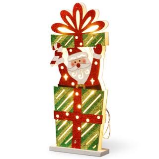 Multicolor Wooden 17-inch Pre-lit Santa Gift Box