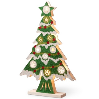 Wood 17-inch Pre-lit Christmas Tree
