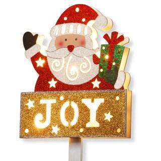 Prelit Wooden 35-inch Santa with 'Joy' Sign