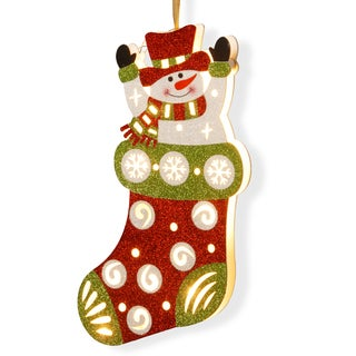 Wood 17-inch LED Snowman in Stocking Decoration