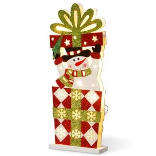 Pre-Lit 17-inch Wooden Gift Box Snowman