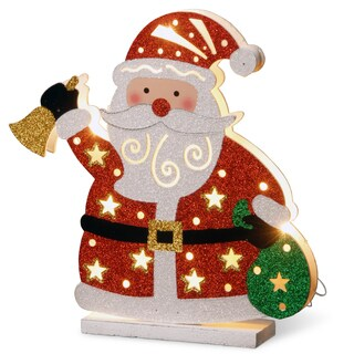 Wood 12-inches Pre-Lit Battery-operated Santa