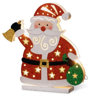 "Link to National Tree Company 12"" Pre-Lit Christmas Decorative Double Sided Wooden Santa Similar Items in Christmas Decorations"