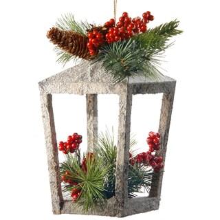 Wood and Flocking 12-inch Holiday Lantern Decoration