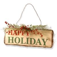 Wood 21-inch Happy Holiday Door Sign