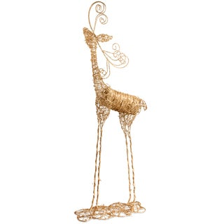 """National Tree Company 51"""" Christmas Decorative Rattan Reindeer with Champagne Gold Glittter"""
