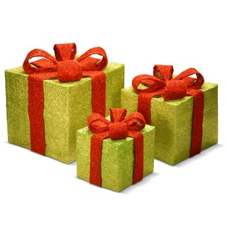 Gold and Red Flax Fabric 3-piece Gift Box Assortment