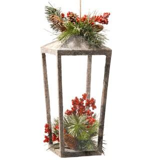 Wood 20-inch Holiday Lantern Decoration