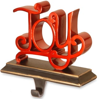 'Joy' Red Poly-resin Stocking Holder