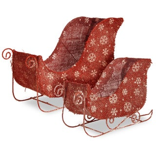 National Tree Company Christmas Decorative Santa's Flax Sleigh with Snowflakes and Glitter - Set of 2 - N/A