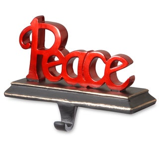 'Peace' Red Poly-resin Stocking Holder