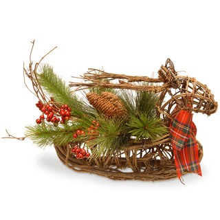 14-inch Faux Evergreen Christmas Deer Basket