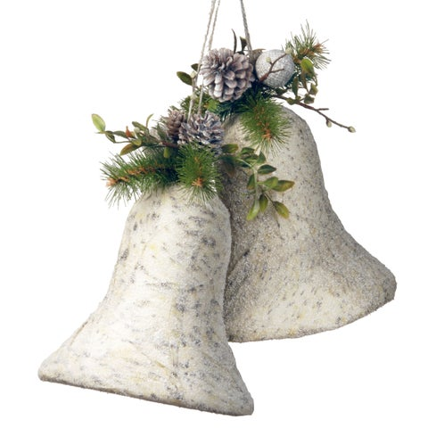 10-inch Poly-foam Faux Evergreen Christmas Bells Decoration