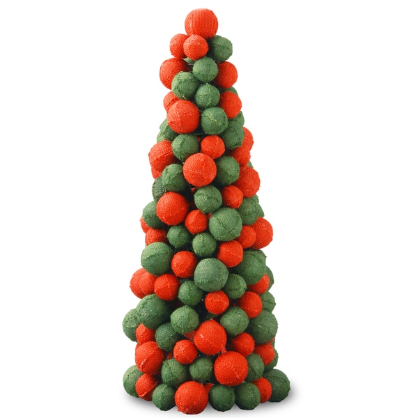 Burlap-covered Foam Balls 24-inches Handcrafted Christmas Tree ...