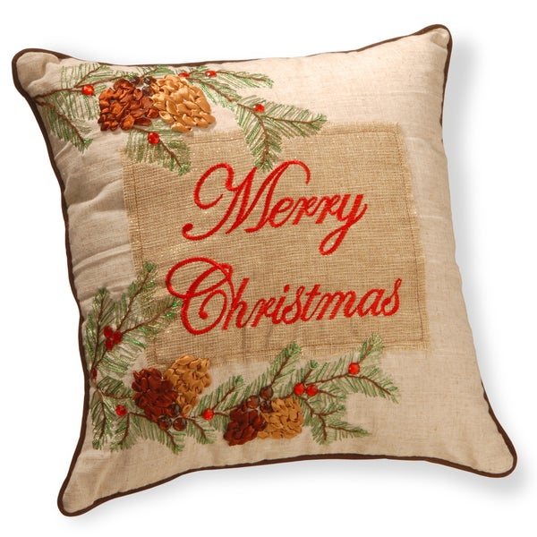 polyester blend 16 inch square merry christmas