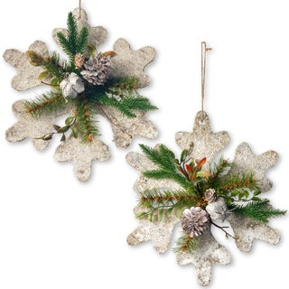 Handcrafted Evergreen/Wood/Pinecone 12-inch Snowflake Decoration Set (Set of 2)