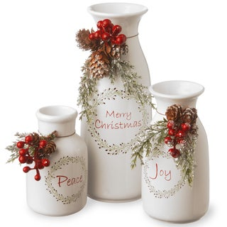 Holiday Antique-style Milk Bottles Set