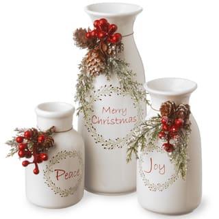 National Tree Company Holiday Christmas Antique Milk Ceramic Decorative Bottles, White - Set of 3