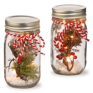 5.25-inch Holiday Accent Mason Jars With Lights (Set of 2)