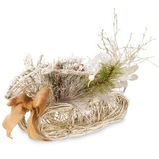 18-inch Wood Vine/Burlap Christmas Deer
