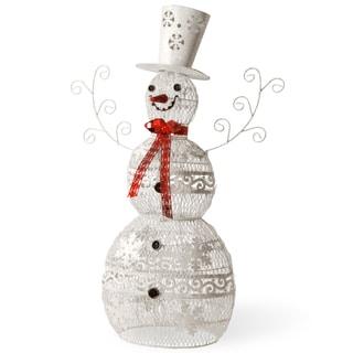 White Steel Wire 36-inch Snowman