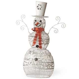 White Steel Wire 24-inches Snowman With Red Scarf
