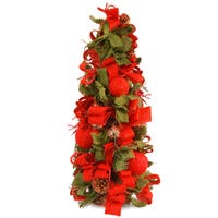Red/Green Burlap 20-inch Christmas Tree