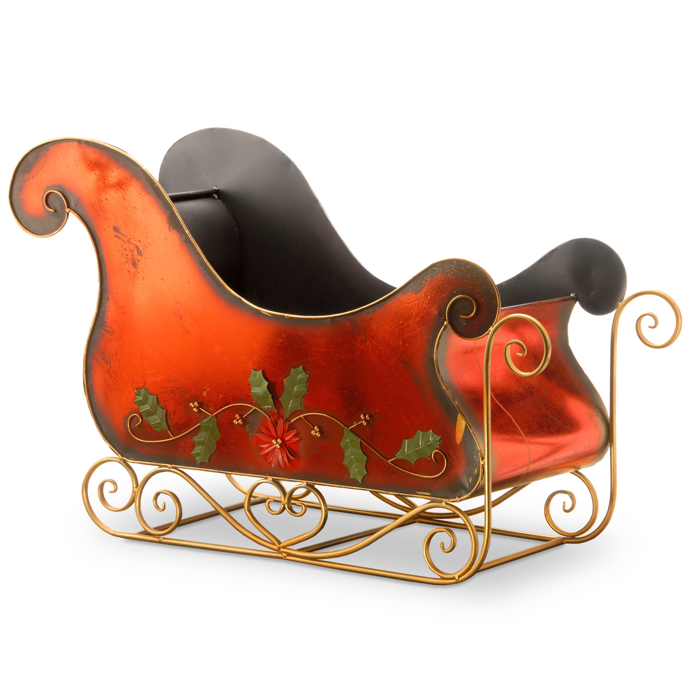 National Tree Company 38.5 Metal Christmas Decorative Red Santas Sleigh (RED)