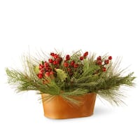 10-inch Faux Bristle and Berries in Metal Pot