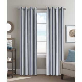Colordrift Striped Polyester 84-Inch Grommet-top Single Curtain Panel