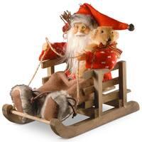 Multicolored Wooden 7.8-inch Decorative Santa in Sleigh