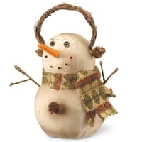 Glitter and Fabric 9.5-inch Snowman Decoration