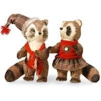 12-inch Imitation Raccoon Pair Figurines