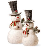 Poly-foam and Glitter Flocking 14-inch and 18-inch Snowman Set (Set of 2)