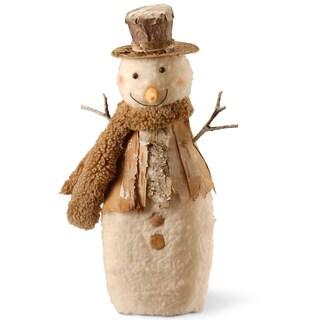 Beige Fabric/Wood 10-inch Snowman Figurine