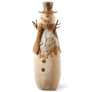 Beige Cotton/Birch Paper 15.5-inch Snowman Figurine