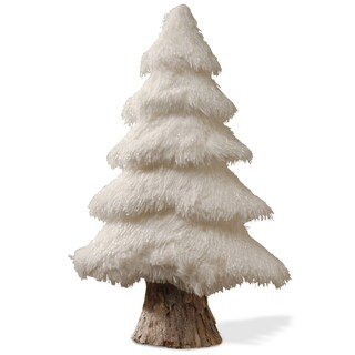White Cotton and Wood 24-inch Tree Figurine