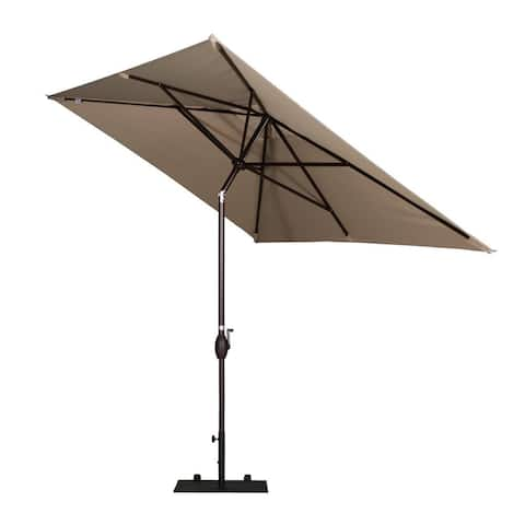 Havenside Home Alpine Rectangular Patio Umbrella with Push-button Tilt and Crank