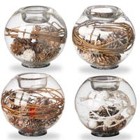 Pinecone Glass Candleholders (Pack of 4)