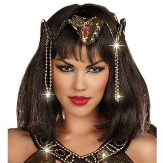 Egyptian Cleopatra Queen Gold Costume Sequin Head Band Hair Piece Snake Charm