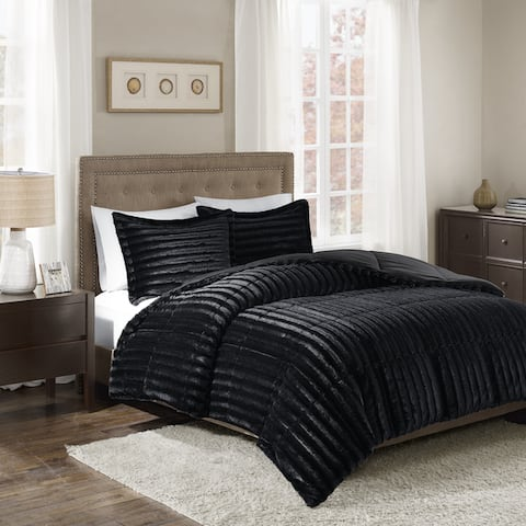 Madison Park York Faux Fur Comforter Mini Set (4-Color Options)