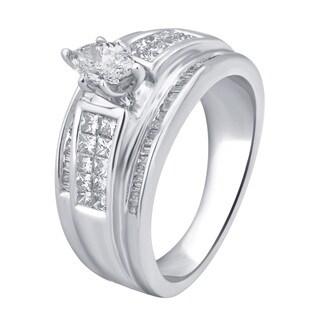 Divina 14K White Gold 1ct TDW White Diamond Marquise Engagement Ring (J-K, I2-I3)