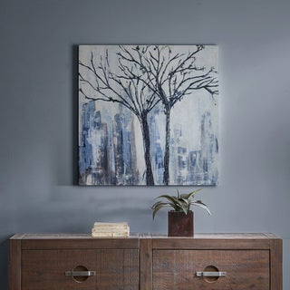 INK+IVY Urban Trees Grey Palette Knife Embellished Canvas