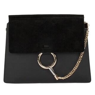 Chloe Faye Shoulder Bag in Black Smooth/Suede Calfskin w/ Pale Gold Hardware size Medium