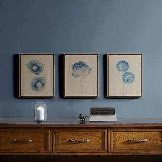 Madison Park Blue Print Botanicals Blue Framed 3 Piece Printed Canvas On Linen