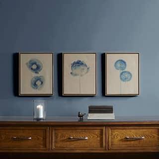 Madison Park Blue Print Botanicals Blue Framed 3 Piece Printed Canvas On Linen