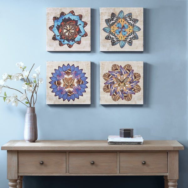 Madison Park Butterfly Mandalas Multi Gel Coat Canvas 4 Piece Set