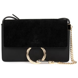 Chloe Faye Shoulder Bag in Black Smooth/Suede Calfskin w/ Pale Gold Hardware size Small
