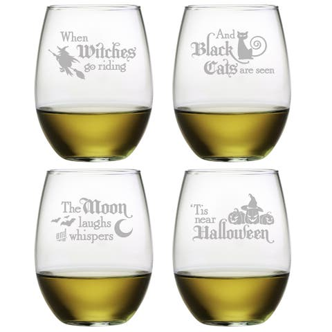 Halloween Verse Stemless Wine Glass (Set of 4)