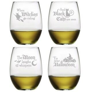 Halloween Verse Stemless Wine Glass (Set of 4)